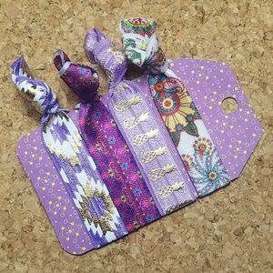 Accessories - Set of 4 Boho Hair Ties - Purple Tribal Pineapple